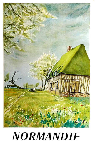 Normandy Painting - Normandy, Farm, France, Vintage Travel Poster by Long Shot