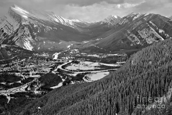 Photograph - Norquay Banff Town Views Black And White by Adam Jewell