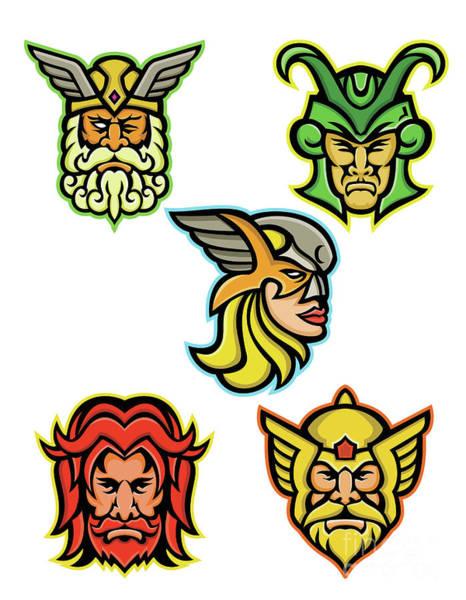 Valkyrie Digital Art - Norse Gods Mascot Collection by Aloysius Patrimonio