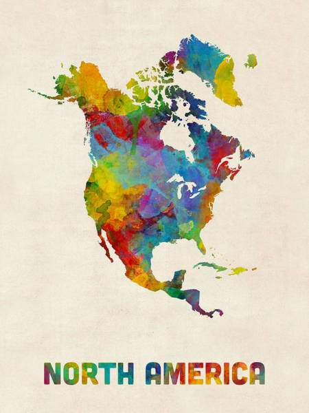 Wall Art - Digital Art - North America Continent Watercolor Map by Michael Tompsett