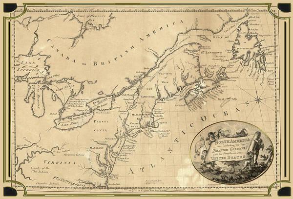 Digital Art - North America Including The British Colonies Map by Carlos Diaz