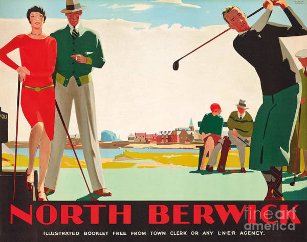 Golfers Painting - North Berwick, A London And North Eastern Railway Vintage Advertising Poster by Andrew Johnson