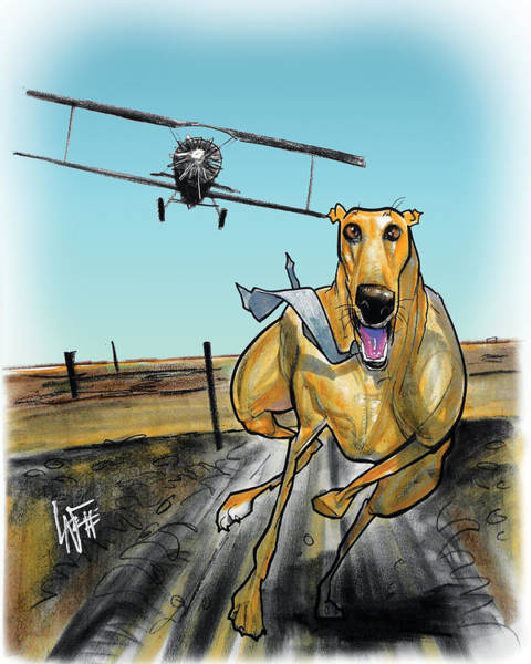 Drawing - North By Northwest Greyhound Caricature Art Print by John LaFree