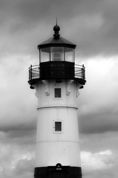 Photograph - North Canal Lighthouse Bw by Bonnie Follett