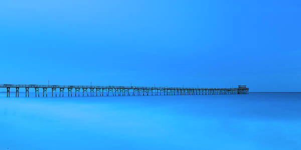 Photograph - North Carolina Atlantic Pier At Blue Hour Panorama by Ranjay Mitra