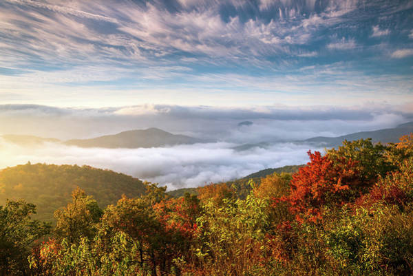 Photograph - North Carolina Autumn Sunrise Blue Ridge Parkway Fall Foliage Nc Mountains by Dave Allen
