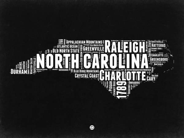 Wall Art - Digital Art - North Carolina Black And White Word Cloud Map by Naxart Studio