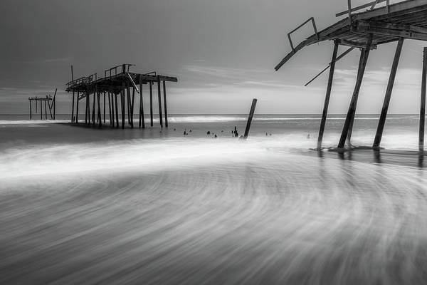 Photograph - North Carolina Broken Fishing Pier In Black And White by Ranjay Mitra