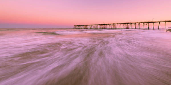 Photograph - North Carolina Fishing Pier At Kure Beach At Sunset Panorama by Ranjay Mitra