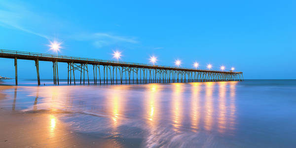 Photograph - North Carolina Kure Beach Fishing Pier At Blue Hour Panorama by Ranjay Mitra
