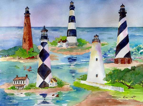 Bodie Painting - North Carolina Lighthouses by Kathleen  Gwinnett