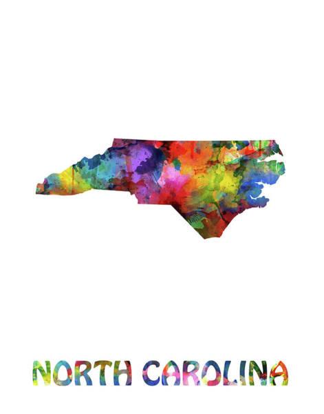 Charlotte Digital Art - North Carolina Map Watercolor by Bekim Art