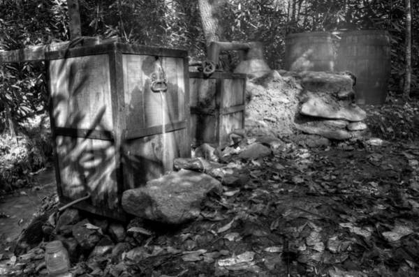 Thicket Photograph - North Carolina Moonshine Still In Black And White by Greg and Chrystal Mimbs