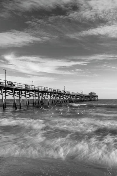 Photograph - North Carolina Ocean Crest Fishing Pier In Black And White by Ranjay Mitra