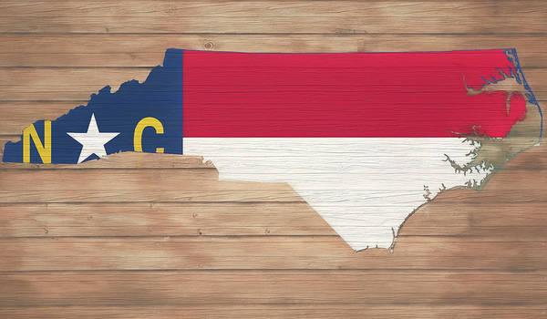 Mixed Media - North Carolina Rustic Map On Wood by Dan Sproul