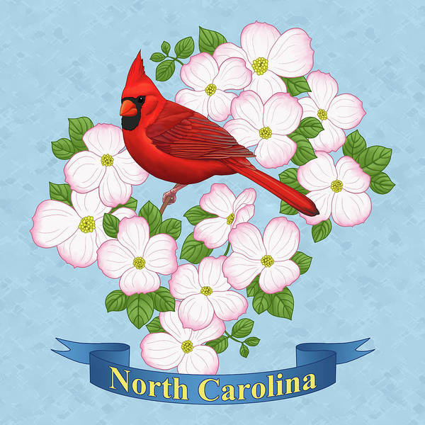 Dogwood Painting - North Carolina State Bird And Flower by Crista Forest