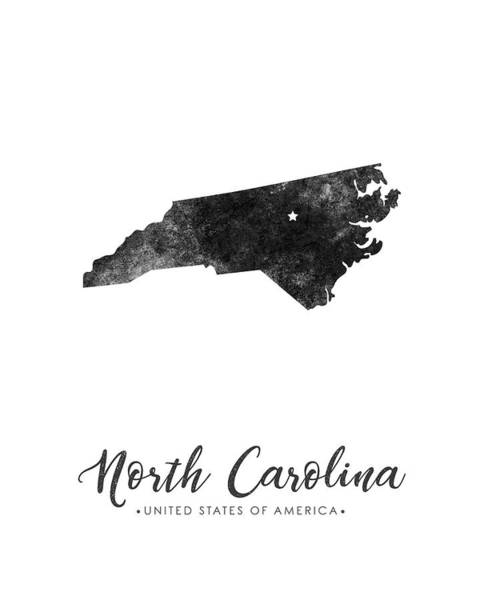 Best Selling Mixed Media - North Carolina State Map Art - Grunge Silhouette by Studio Grafiikka