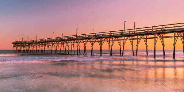 Photograph - North Carolinas Fishing Pier Sunset Panorama by Ranjay Mitra