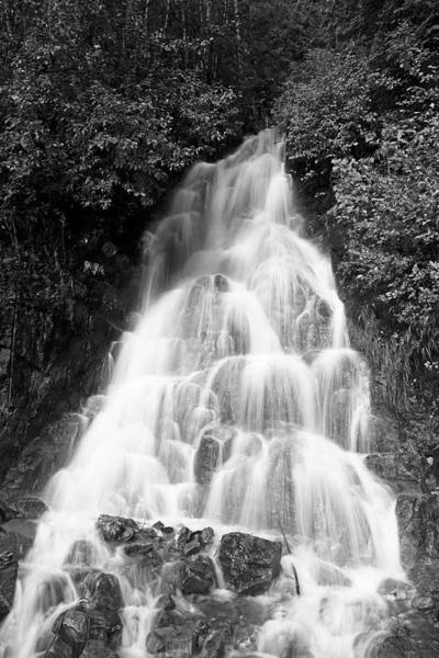 Photograph - North Cascade Waterfall In Black And White by David Lunde