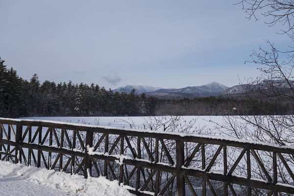 Photograph - North Conway Winter Mountains Bridge by Toby McGuire