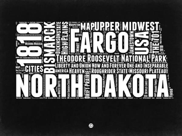 North Dakota Wall Art - Digital Art - North Dakota Black And White Map by Naxart Studio
