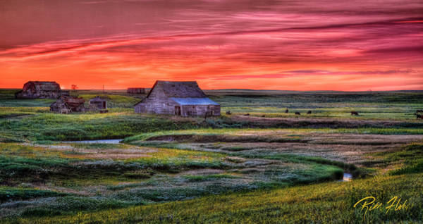 Photograph - North Dakota Farm At Sunrise by Rikk Flohr