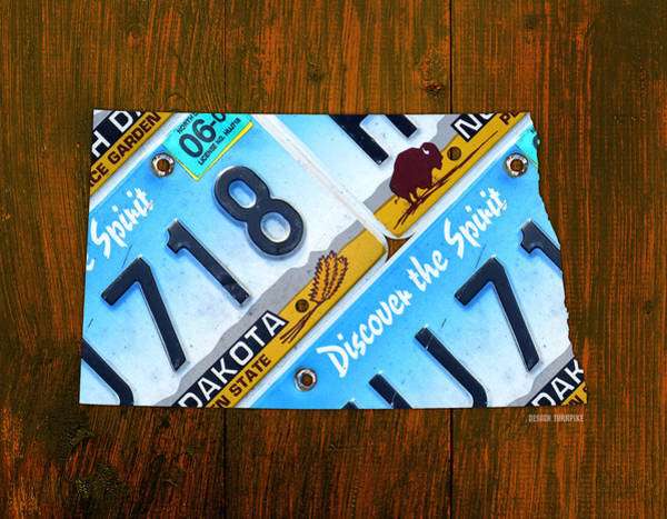 North Dakota Wall Art - Mixed Media - North Dakota Peace Garden State Recycled Vintage License Plate Map by Design Turnpike