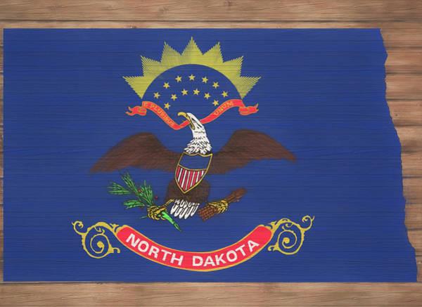 Mixed Media - North Dakota Rustic Map On Wood by Dan Sproul