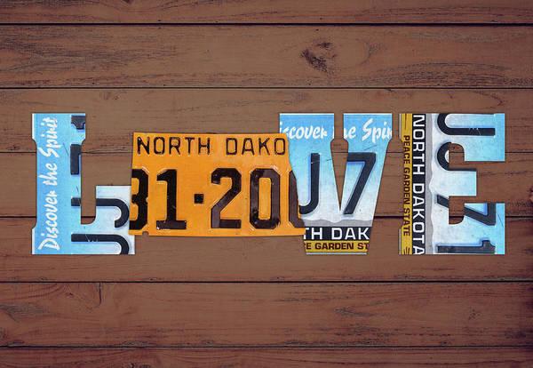 North Dakota Wall Art - Mixed Media - North Dakota State Love Heart License Plates Art Phrase by Design Turnpike