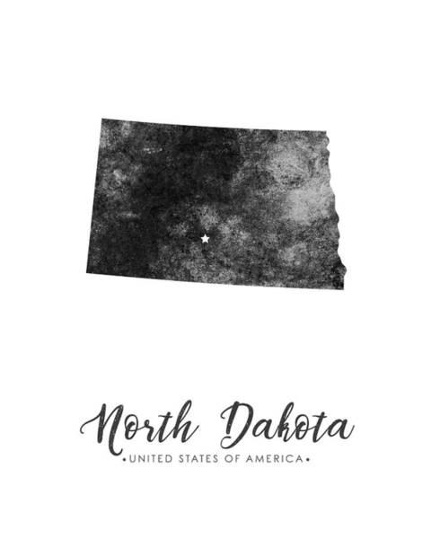 North Dakota Wall Art - Mixed Media - North Dakota State Map Art - Grunge Silhouette by Studio Grafiikka