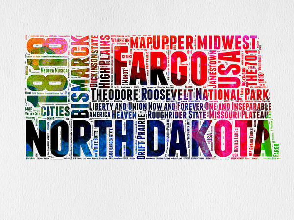 Map Art Mixed Media - North Dakota Watercolor Word Cloud  by Naxart Studio