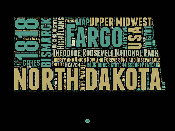 Map Mixed Media - North Dakota Word Cloud 1 by Naxart Studio