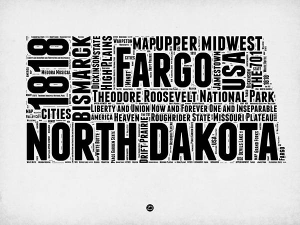 Map Art Mixed Media - North Dakota Word Cloud 2 by Naxart Studio