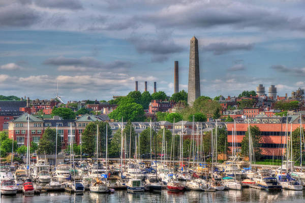 Boston North End Wall Art - Photograph - North End Waterfront Marina And Bunker Hill Monument - Boston by Joann Vitali