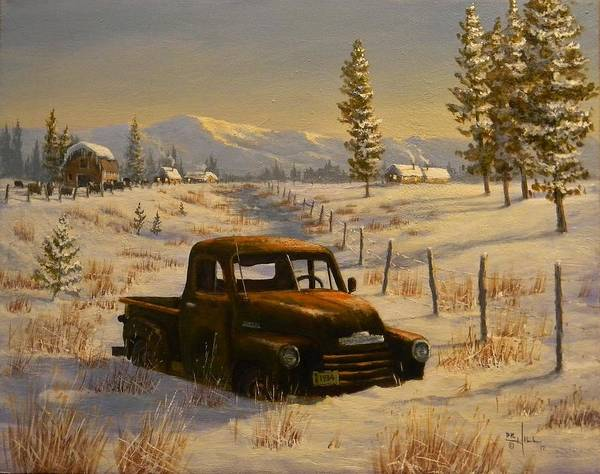 Old Chevy Truck Painting - North Idaho Yard Art by Paul K Hill