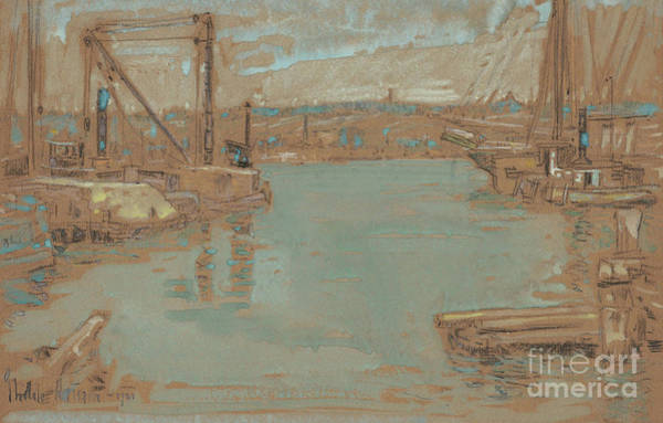 Painting - North River Dock, New York, 1901 by Childe Hassam