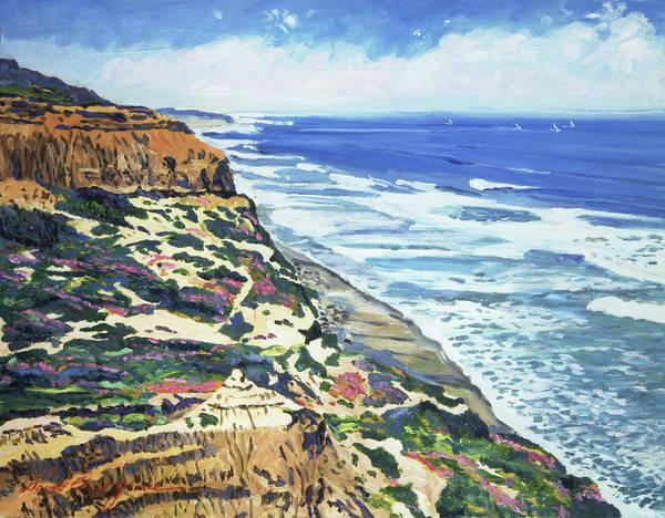 Bluffs Painting - North San Diego Coastline by David Lloyd Glover