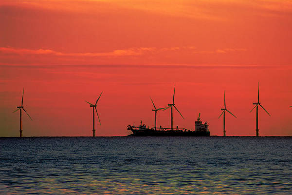 Freightliner Wall Art - Photograph - North Sea Wind Farm by Martin Newman