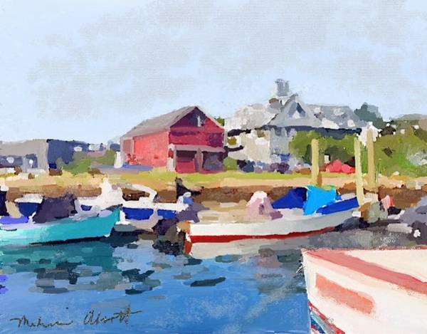 Transportation Painting - North Shore Art Association At Pirates Lane On Reed's Wharf From Beacon Marine Basin by Melissa Abbott