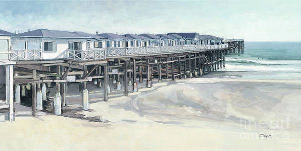 Pylon Painting - North Side Of Crystal Pier, Pacfiic Beach, San Diego, California by Paul Strahm