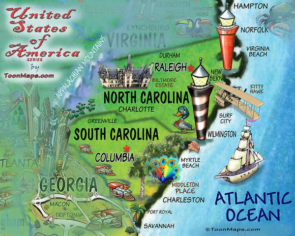 Digital Art - North South Carolina Fun Map by Kevin Middleton