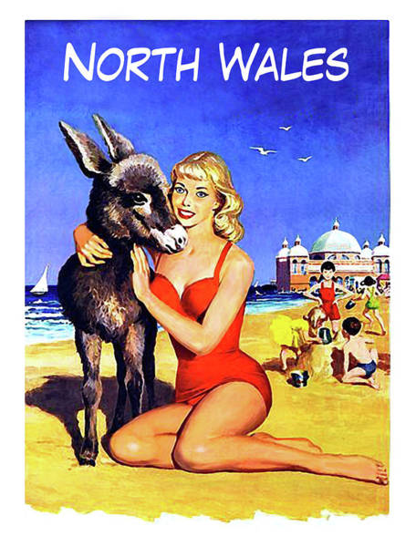Wall Art - Painting - North Wales Beach, Blond Girl Hugging A Donkey by Long Shot