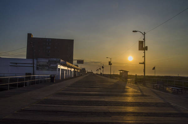 Photograph - North Wildwood Boardwalk At Sunrise by Bill Cannon