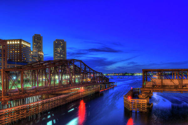 Photograph - Northern Avenue Bridge And Boston Harbor At Night by Joann Vitali