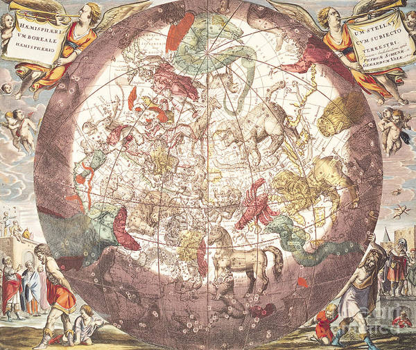 Wall Art - Painting - Northern Boreal Hemisphere, From The Celestial Atlas by Andreas Cellarius