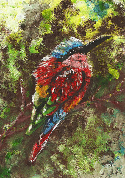 Rain Song Painting - Northern Carmine Bee Eater by Sydney Gregory
