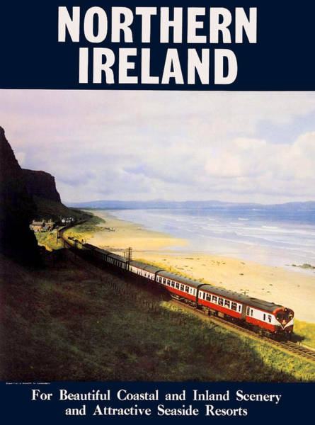 Railway Painting - Northern Ireland Coast, Railway, Train, Travel Poster by Long Shot