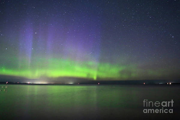 Perseid Wall Art - Photograph - Northern Light With Perseid Meteor by Charline Xia