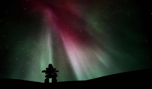 Wall Art - Digital Art - Northern Lights Above An Inukchuk In Saskatchewan by Mark Duffy