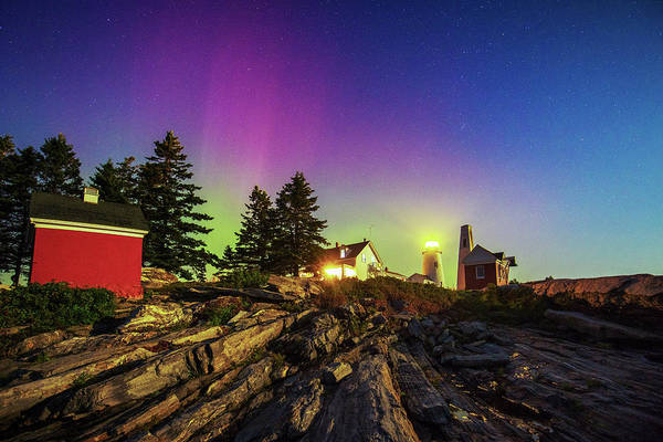 Photograph - Northern Lights At Pemaquid Light by Robert Clifford